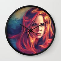 amy pond Wall Clocks featuring Amy Pond by Alice X. Zhang