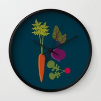 vegetable Wall Clocks featuring Vegetable Medley by Veronica Galbraith