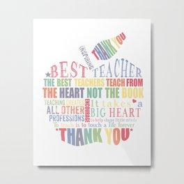Rainbow word art apple, Teacher Appreciation Gift, Thank you, retirement, end of term Metal Print