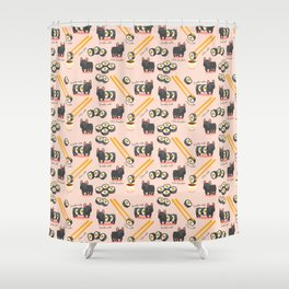 French bulldog maki sushi Shower Curtain