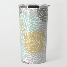 Floral Abstract Print, Yellow, Gray, Aqua Travel Mug
