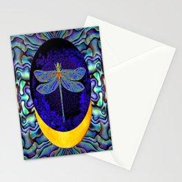 Mystical Midnight- Blue Moon  Gossamer Dragonfly Art  Stationery Cards