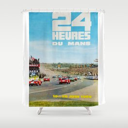 1965 Le Mans poster, Race poster, car poster, garage poster Shower Curtain