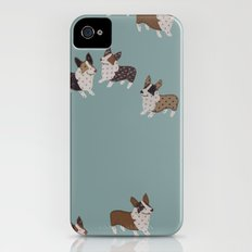 teal corgis Slim Case iPhone (4, 4s)