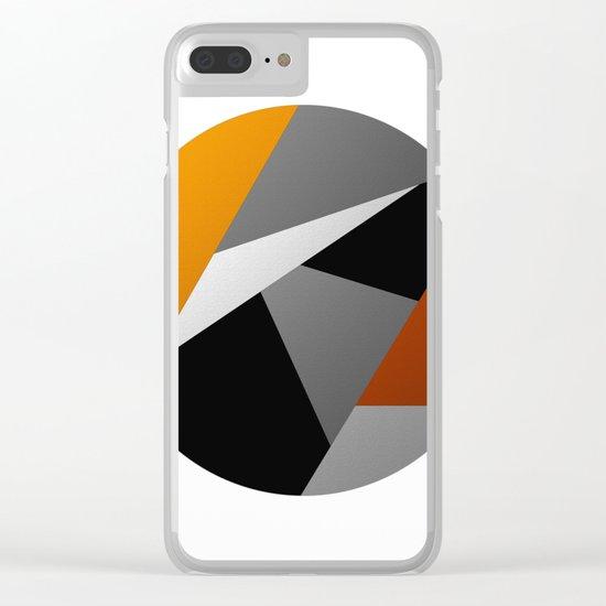 Metallic Moon - Abstract, metallic textured geometric moon space artwork Clear iPhone Case