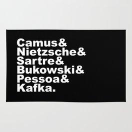 Camus& Nietzsche& Sartre& Bukowski& Pessoa& Kafka. White on Black Rug