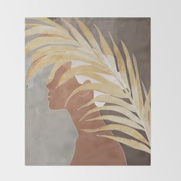 Woman with Golden Palm Leaf Throw Blanket