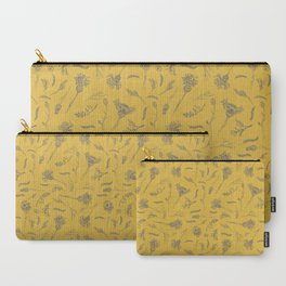 Wild Flowers, Sagebrush, Sticks, Grass and Bumblebees in Mustard Yellow Carry-All Pouch