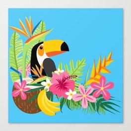 Tropical Toucan Island Coconut Flowers Fruit Blue Background Canvas Print