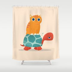 Fat Cat Rides a Turtle Shower Curtain