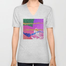 Mixed Media Abstract in Pinks & Lilac With Glitter Unisex V-Neck