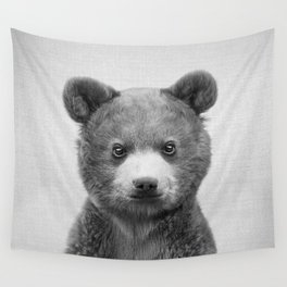 Baby Bear - Black & White Wall Tapestry