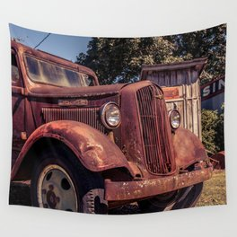 Rusting Pickup Near an Outhouse Along Route 66 in Paris Springs Missouri Wall Tapestry