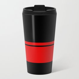 Red Racing Stripe Berlin Style Metal Travel Mug