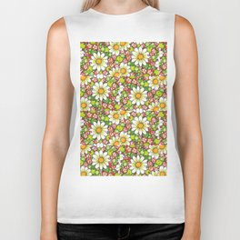 Christmas Daisy and Berries Pattern Biker Tank