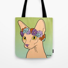 Flower Crown Sphynx Tote Bag