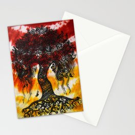 Tie-Dyed Henna Mehndi-Inspired Tree of Life Print Stationery Cards