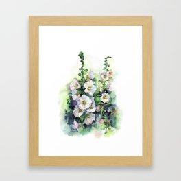 Watercolor Hollyhocks white flowers Framed Art Print