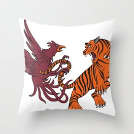 Cocks vs Tigers Throw Pillow