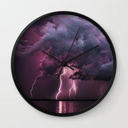 Lightening Strike in Purple Storm Wall Clock