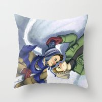 destiel Throw Pillows featuring Destiel Snow Angels by SmercArt