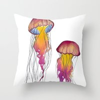 swim Throw Pillows featuring Swim  by Hedda Hultman