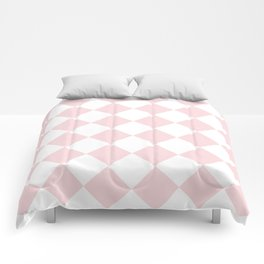 Large Diamonds - White and Light Pink Comforters