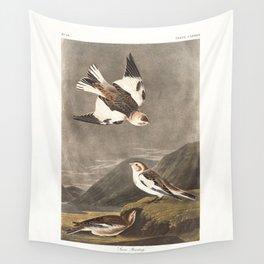 Snow bunting, Birds of America, Audubon Plate 189 Wall Tapestry