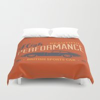 sport Duvet Covers featuring Vintage British Sport Car by Thyme