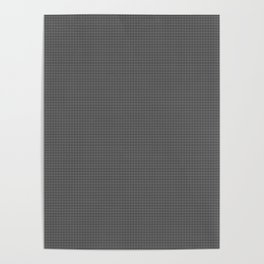 White and Gray Basket Weave Lines on Black Poster