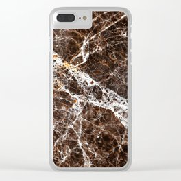 Brown Marble Clear iPhone Case
