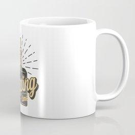 Vintage Vaping Logotypes With Letterings Skeleton Hand Holding Vape Monochrome Style Illustration Coffee Mug