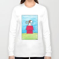 pilot Long Sleeve T-shirts featuring pilot Snoopy by DROIDMONKEY