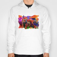 tigers Hoodies featuring Psychedelic Tigers by JT Digital Art