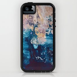 Breathe Again: a vibrant mixed-media piece in blues pinks and gold by Alyssa Hamilton Art iPhone Case