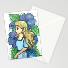 The lady in blue Stationery Cards