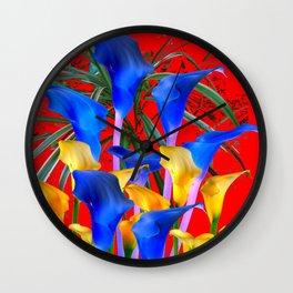 YELLOW & AZURE BLUE CALLA LILIES RED ART Wall Clock
