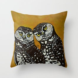 Burrowing Owls in love Throw Pillow