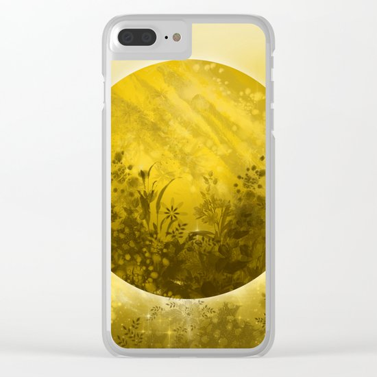 circle yellow landscape Clear iPhone Case