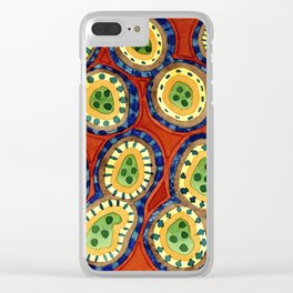 Folcloristic Ringed Circles Pattern Clear iPhone Case