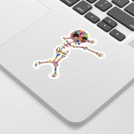 Dabbing Skeleton For Autism Sticker