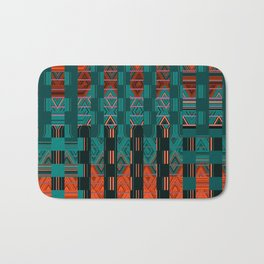Abstract Geometric Glitch Green Neon Hyperspace Bath Mat