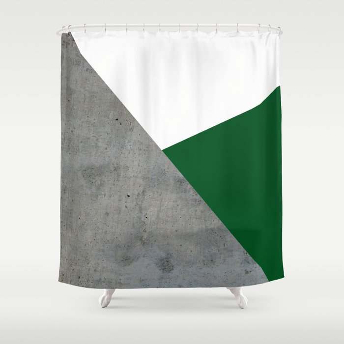 Concrete Festive Green White Shower Curtain