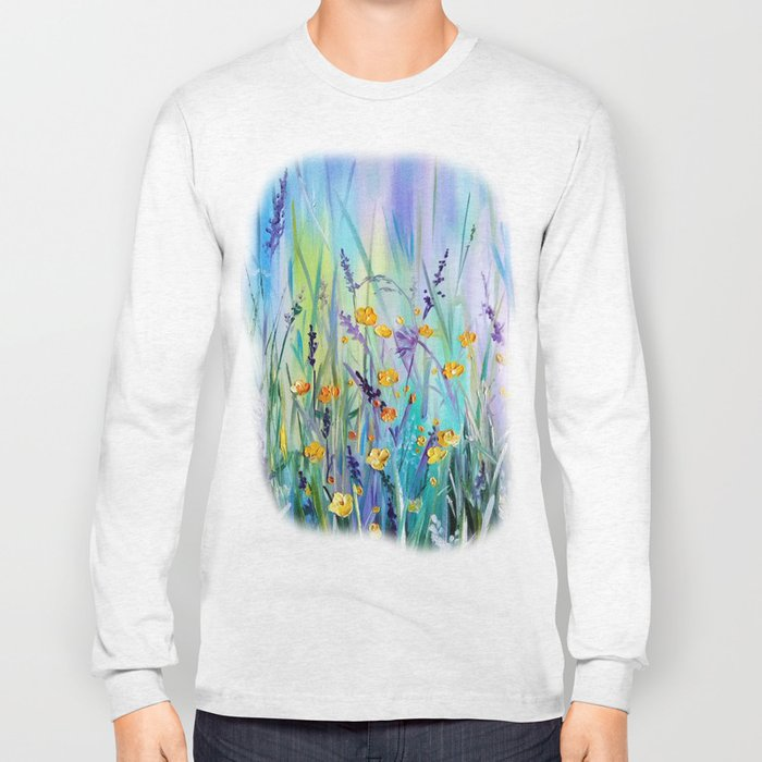 Flowers field at dawn Long Sleeve T-shirt