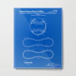 Baseball Patent - Blueprint Metal Print