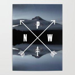 PNW Pacific Northwest Compass - Mt Hood Adventure Poster