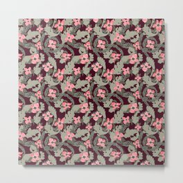 Acanthus Leaves and Dogwood Floral pattern Metal Print