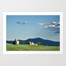 Vitaleta chapel in Val d'Orcia, Tuscany Art Print