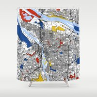 portland Shower Curtains featuring Portland map by Mondrian Maps
