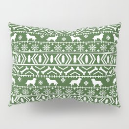 Bernese Mountain Dog fair isle christmas green and white pattern holiday dog breed gifts Pillow Sham